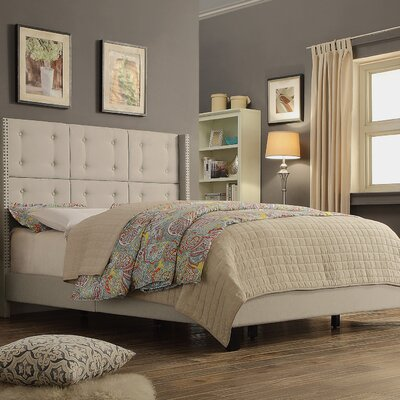 Chica Upholstered Panel Bed Size: Full, Color: Beige