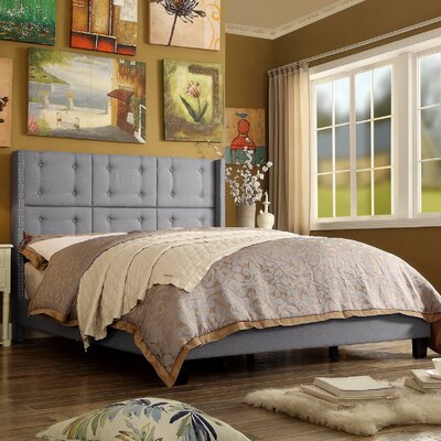 Chica Upholstered Panel Bed Size: King, Color: Gray