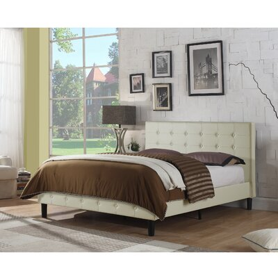 Hankins Upholstered Platform Bed Size: Full, Color: Ivory