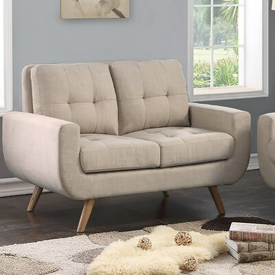Clementina Tufted Loveseat Upholstery: Beige