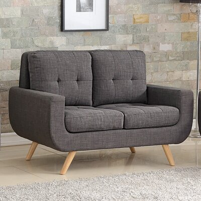 Bilski Tufted Loveseat Upholstery: Charcoal