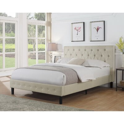 Cloe Upholstered Platform Bed Color: Beige, Size: Full/Double
