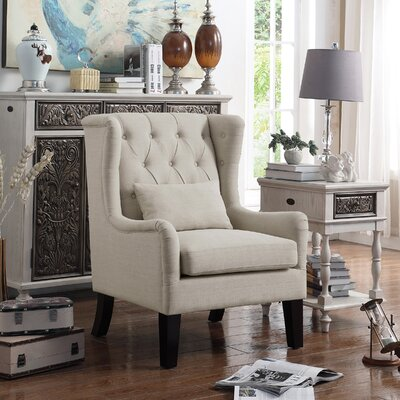 Jeramiah Wingback Chair Upholstery: Beige