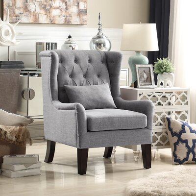 Jeramiah Wingback Chair Upholstery: Gray