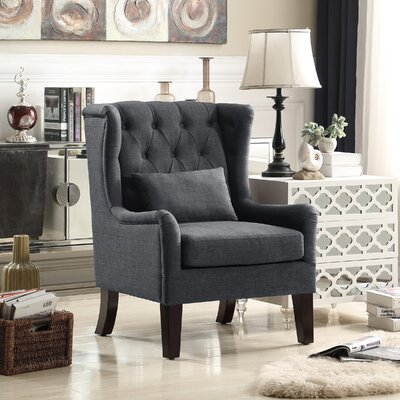 Jeramiah Wingback Chair Upholstery: Charcoal