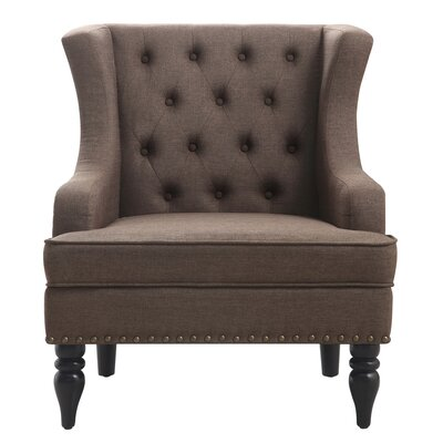 Jewel Wingback Chair Upholstery: Dark Brown