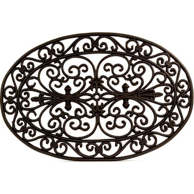 Oval Scroll Wrought Iron Rubber Doormat