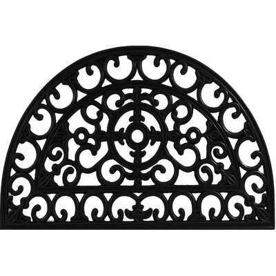 Half Round Fleur de Lis Filigree Wrought Iron Rubber Doormat