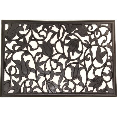 Tulips Wrought Iron Rubber Doormat