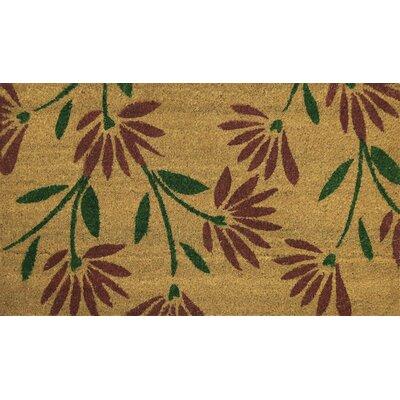Red Flower Petals Coir (Coco) Doormat