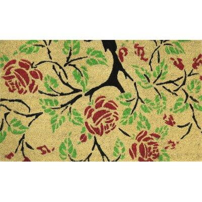 Red Roses Coir (Coco) Welcome Doormat