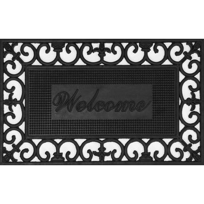 Fleur de Lis Filigree Wrought Iron Rubber Welcome Doormat