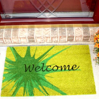 Splash Coir (Coco) Welcome Doormat Color: Green