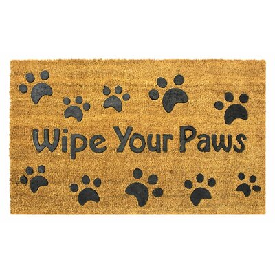 Wipe Your Paws Rubber Embossed Coco Coir Doormat