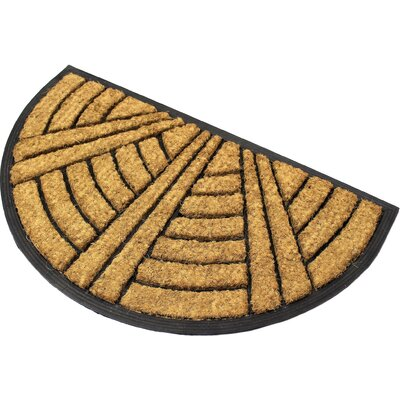 Half Round Art Deco Fan Coir (Coco) Rubber Doormat