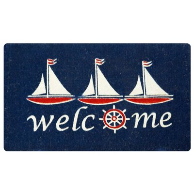 Everly Nautical Sailboat Coco Coir Welcome Doormat