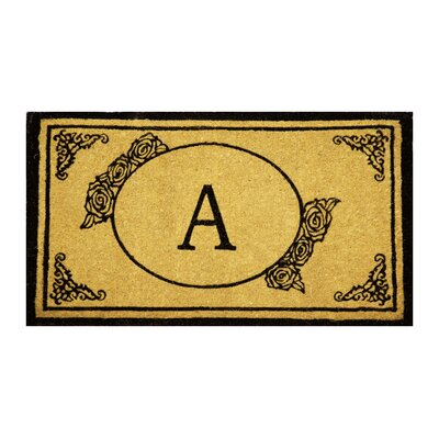 Lakemoor Welcome Coco Coir Monogram Letter A Outdoor Doormat Mat Size: 16 x 26, Letter: A