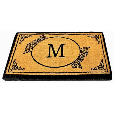 Lakemoor Welcome Coco Coir Monogram Letter A Outdoor Doormat Mat Size: 16 x 26, Letter: M