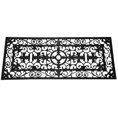Boutwell Fleur De Lis Wide Wrought Iron Rubber Mat Doormat