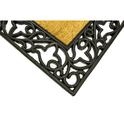 Bourne Floral Wrought Iron Rubber with Plain Coir Doormat