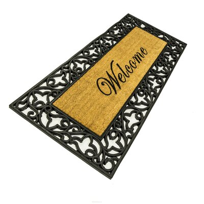 Bower Floral Welcome Wrought Iron Rubber with Coir Doormat