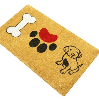 Sara I Love Dogs Coco Coir Outdoor Welcome Doormat