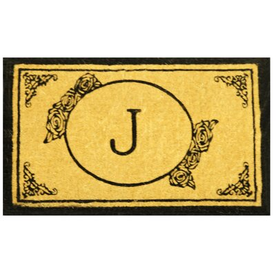 Lakemoor Welcome Coco Coir Monogram Letter A Outdoor Doormat Rug Size: 26 x 4, Letter: J