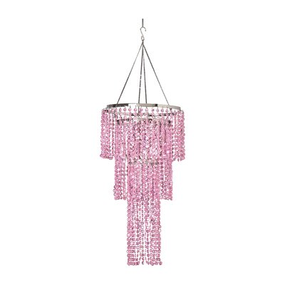 Triple Tier 1-Light Crystal Pendant Shade Color: Pink
