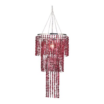 Felicia Triple Tier 1-Light Crystal Pendant Shade Color: Raspberry Red