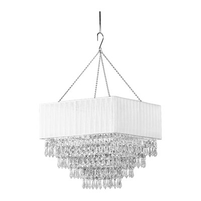 Elegance 1-Light Crystal Pendant Shade Color: White