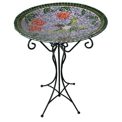 Gardener's Select Mosaic Glass Hummingbird Birdbath
