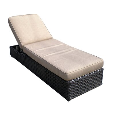 Santa Monica Chaise Lounge with Cushion Fabric: Papaya Dupoine