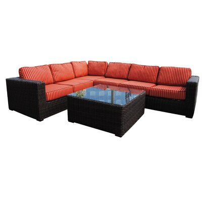 Santa Monica Sectional Seating Group with Cushions Fabric: Papaya Dupoine