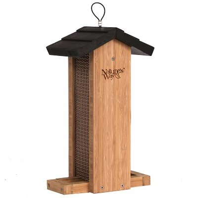 Bamboo Vertical Mesh Hopper Bird Feeder