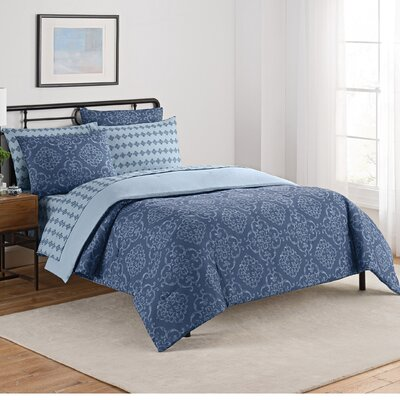 Lyon 7 Piece Reversible Comforter Set Size: King, Color: Blue