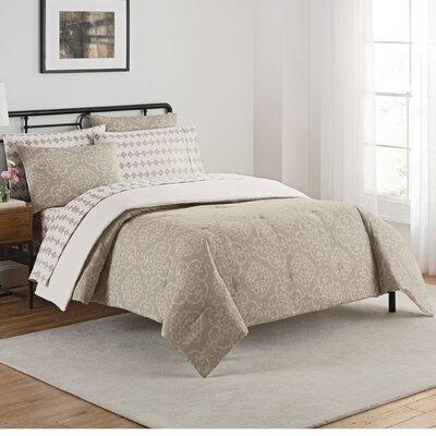 Lyon 7 Piece Reversible Comforter Set Size: King, Color: Gray