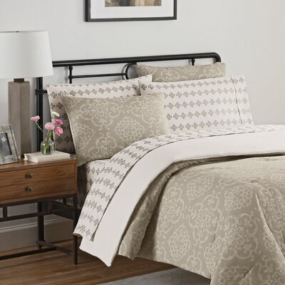 Lyon 7 Piece Reversible Comforter Set Size: Queen, Color: Gray
