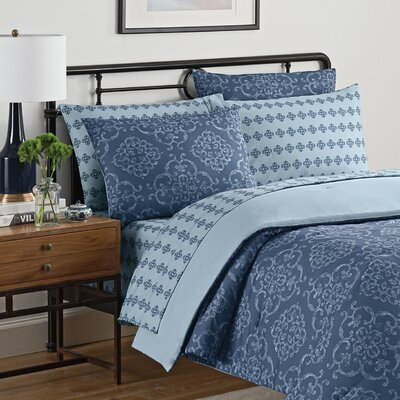 Lyon 7 Piece Reversible Comforter Set Size: Queen, Color: Blue