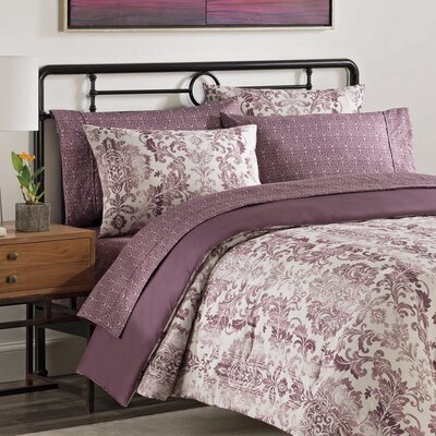 Emerson 7 Piece Comforter Set Color: Berry, Size: Queen