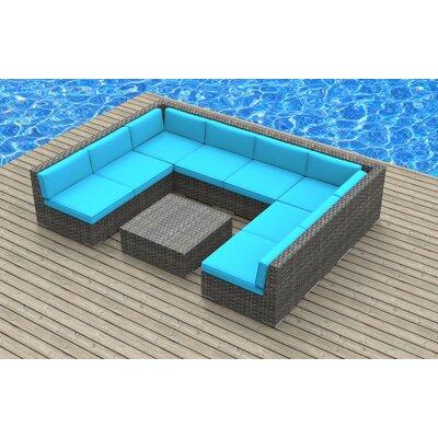Tahiti 9 Piece Deep Seating Group with Cushion Fabric: Sea Blue