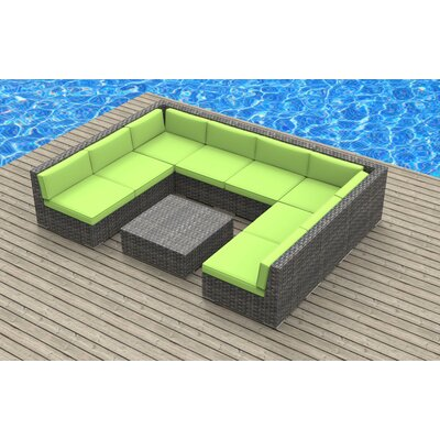 Tahiti 9 Piece Deep Seating Group with Cushion Fabric: Lime Green