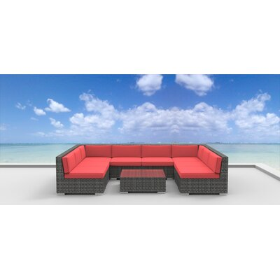 Tahiti 9 Piece Deep Seating Group with Cushion Fabric: Coral Red
