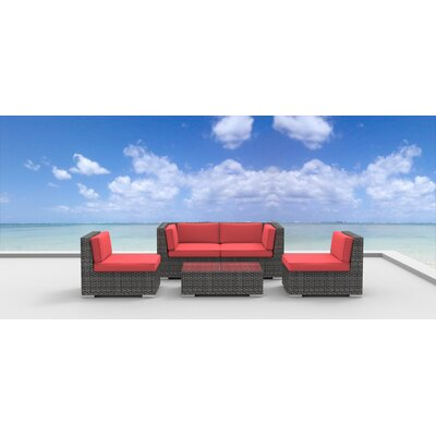 Rio 5 Piece Deep Seating Group with Cushion Fabric: Coral Red