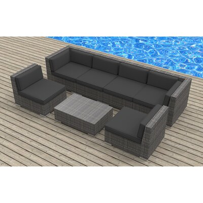 Oahu 7 Piece Deep Seating Group with Cushions Fabric: Charcoal