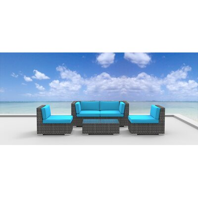 Rio 5 Piece Deep Seating Group with Cushion Fabric: Sea Blue