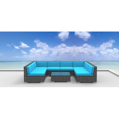 Tahiti 9 Piece Deep Seating Group with Cushion Fabric: Sea Blue