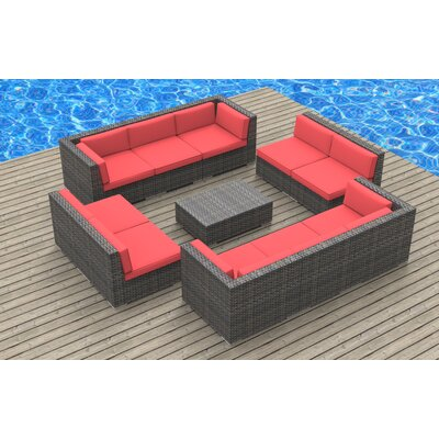 11 Piece Sectional Set With Cushions Fabric: Coral Red, Frame Color: Ash Gray