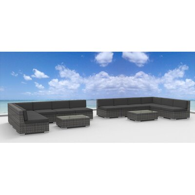 Venice 14 Piece Deep Seating Group with Cushion Fabric: Charcoal