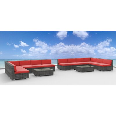 Venice 14 Piece Deep Seating Group with Cushion Fabric: Coral Red