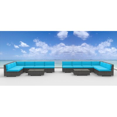 Venice 14 Piece Deep Seating Group with Cushion Fabric: Sea Blue